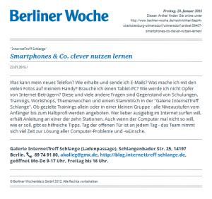 Annonce in der Berliner Woche